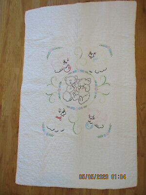 Vintage Embroidered and Hand~quilted Crib Quilt Puppy Kitten Bear Adorable