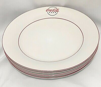 4 Gibson COCA~COLA Cafe Coke Dinner Plates White With Red Trim