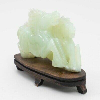 Antique Carved Green Jade Galloping Horses Figurine Sculpture on Wood Base 5.5""