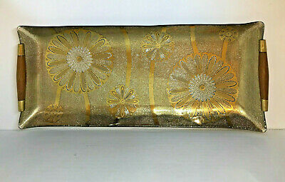 VTG Bent Glass Rectangular Tray With Gold Flowers Wood Handles Georges Briard