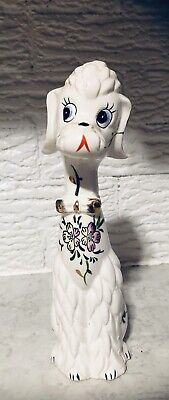 Vtg TALL POODLE FIGURINE Ceramic Dog JAPAN Flowers Bow Tie Hand Painted Numbered