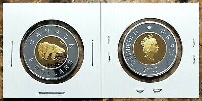 Canada 2000 14KT Gold Plated Silver Proof Gem UNC Toonie!!