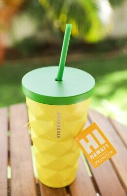 NEW StarbucksPINEAPPLETumbler 16oz Straw Cup Hawaii Stainless Steel Yellow