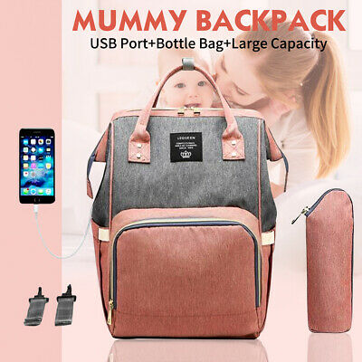 🔥 LEQUEEN Large Mummy Backpack Maternity Baby Nappy Diaper Rucksack For