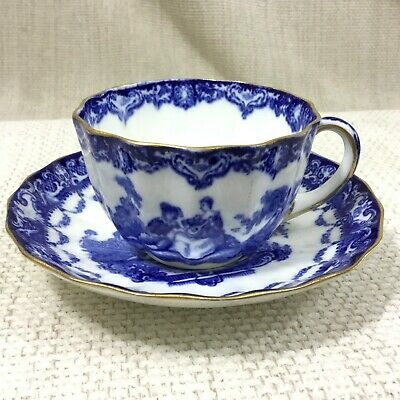 Antique Royal Doulton Porcelain Teacup and Saucer Blue White Demitasse Dainty