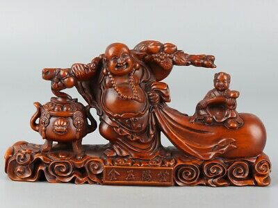 Chinese Exquisite Hand-carved Buddha child Carving Boxwood statue