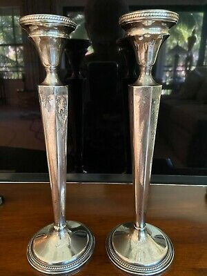 Antique Sterling Silver MFH Weighted Candlesticks, 2 pcs.