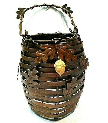 Decorative Basket Metal Iron Handle Autumn Fall Thanksgiving Leaves Woven Decor