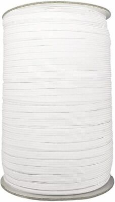 5/10 METRES - GOOD STRONG QUALITY FLAT WOVEN ELASTIC - WHITE 4mm  - FACE MASKS