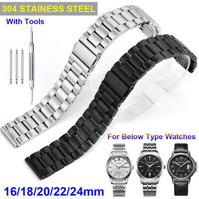 Men's 304 Stainless Steel Metal Watch Band Belt Buckle Replacement Strap 16-24mm