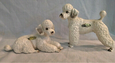 Josef Originals 2 White Poodles - Dog Figurines Laying Stand From Japan - French