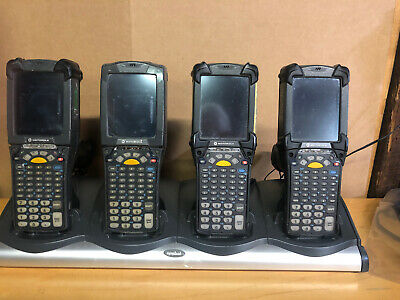4X Motorola Symbol Mc9190 Barcode Scanners And 4 Device Charging Station Working