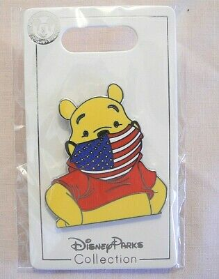 "FANTASY Disney pin 2"" Winnie the Pooh American Flag Face Mask FAN MADE"