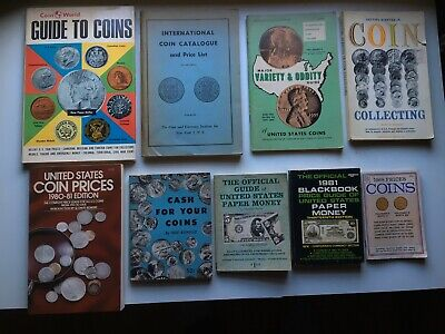 9 Vintage Coin Collecting Books,paper money,variety+oddities,lnternational.