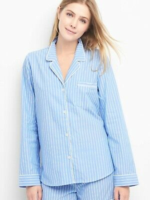 NWT Gap Women's Sleep & Lounge Pajama Set Striped Blue Cotton Poplin Sz M