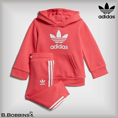 🔥 Adidas Originals Trefoil Hoodie Tracksuit Girls Age 18-24 Months 2-3-4 Years