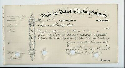 share certificate - 1860 Bala and Dolgelley Railway Co Wales