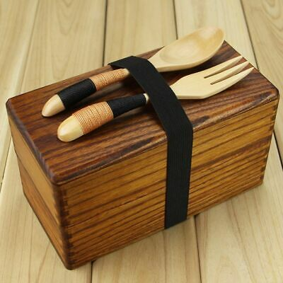 Wooden Food Box Japanese Style Traditional Natural Square Double Layer Bento Box
