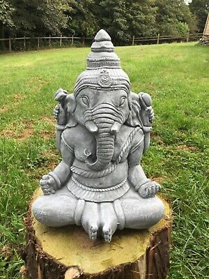 Stone Garden Large Meditating Ganesh Elephant God Praying Buddha Statue Ornament