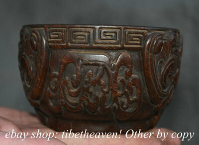 """5.2"""" Old China ox horn Carving Dynasty Palace Dragon Beast Face Wine vessel Bowl"""