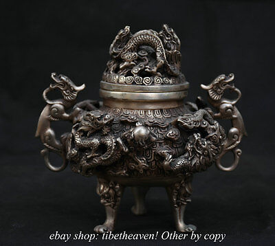 16CM Marked Ancient Chinese Silver Dynasty Handle Dragon Incense Burner Censer