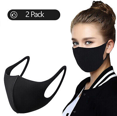 2x Face Covering Mask Breathable Washable Protective Nose Mouth Protection Black