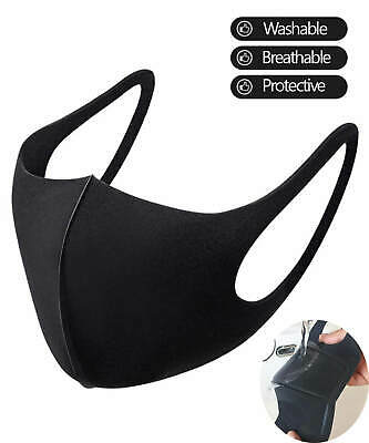 Black Washable Face Mask Reusable Breathable Protective Nose Mouth Facemask New