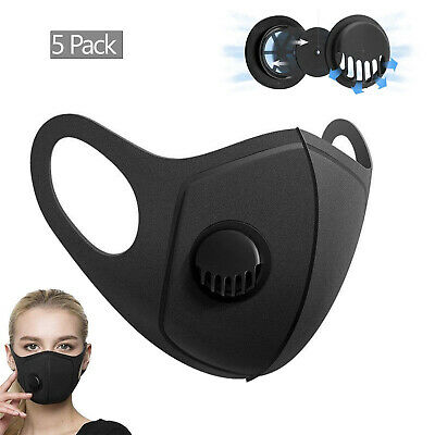 5 x Face Mask Breathable Washable 2.5M Filter Protective Mouth Protection Black