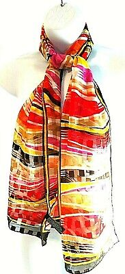 """Woman's Long Scarf Polyester Multi-Color Shiny Sheer Rectangle 13"""" x 56"""""""