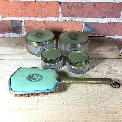 Vintage 5-Piece Vanity Set Faux Guilloche Green / Gold Jars and Brush
