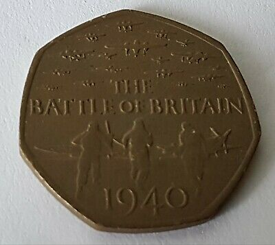 Battle Of Britain 50p coin 2015 with unusual toning ? tails side ✔Free P&P