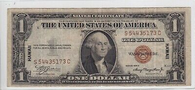 1935-A $1 Silver Certificate Note Hawaii Emergency Issue S54435173C