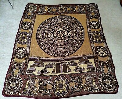 "Aztec Calendar Queen Throw Blanket Made in Mexico (Wall Hanging Rug 90""x80"")"