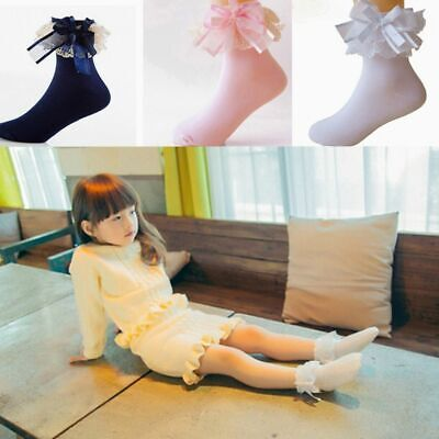 Cute Baby Girls Short Ankle Princess Socks Cotton Big Bow Lace Frilly Ruffle