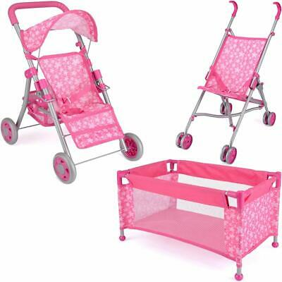 Kids Pushchair Deluxe Buggy Childrens Baby Pram Doll Cot Stroller Great Fun Toy