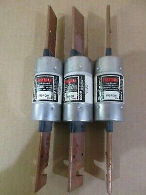 Lot of 3 Bussmann Fusetron FRS-R-200 Dual Element Time Delay Fuses 200 Amp 600 V