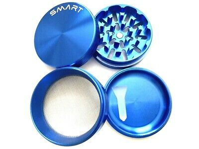 2.5 Inch Aluminum Large 4 Layer Tobacco Smoke Grinder Spice Herb Crusher Blue
