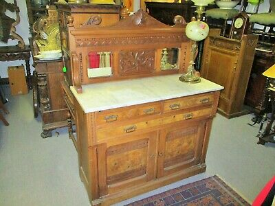 Late 19Th Century Eastlake Victorian Marble Top Buffet With Backsplash Mirror