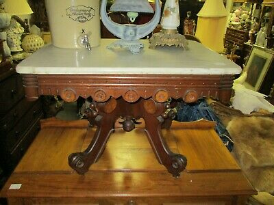 Late 19Th Century Renaissance Revival Victorian Walnut Coffee Table W/ Marble