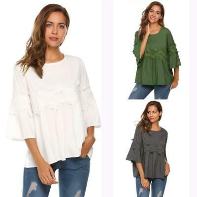 Women Casual O-Neck Lace Patchwork Flare Sleeve Solid Loose Top Blouse RCAI