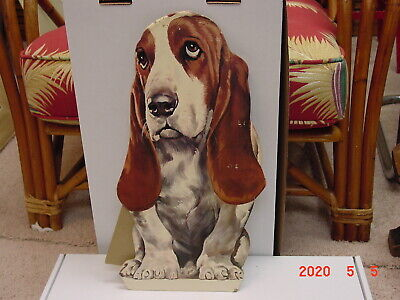 Vintage Basset Hound Advertising Display Hush Puppies Shoes Easel Back