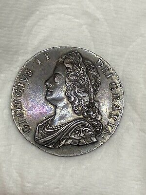 1736 Great Britain 🇬🇧 Silver Crown Plumes & Roses George II -GORG TONING! RARE