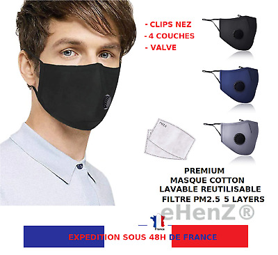 2 Masques Cotton Lavable 4 Couches Inclus Filtre Pm2.5 Stock  Expedition France