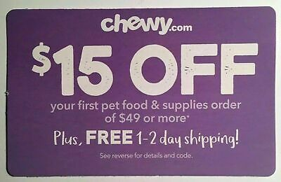 ✨Instant Delivery✨ CHEWY.com — $15 OFF FIRST $49+ Order Promo Code — Exp. 6/30