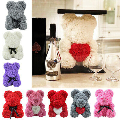 Romantic Teddy Bear Foam Rose Bears Love Roses Birthday Wedding with Box GIFT UK