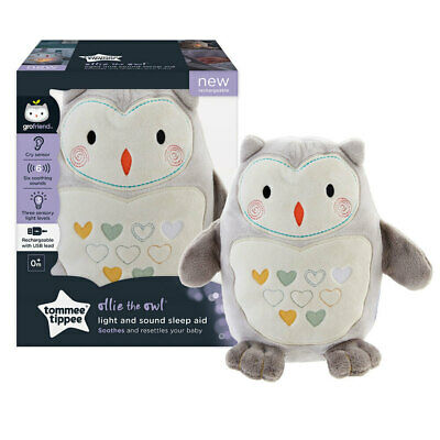 Tommee Tippee Rechargeable Light/Sound Sleep Baby/Toddler Nursery Plush Toy Owl