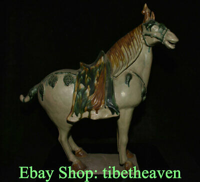 """19.2"""" Rare Old Chinese Tang Sancai Pottery Dynasty Palace mare Horse Statue"""