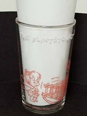 Vintage 1963 Hanna Barbera Productions Inc The Flinstones Pebbles Baby Sitter/'s Pink and Clear Juice Glass