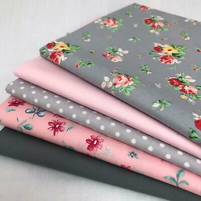 Rose & Hubble 100% Cotton Fabrics 5 piece FAT QUARTER bundle Grey & Red AM08