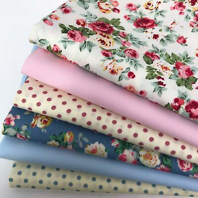 Rose & Hubble 100% Cotton Fabrics 6 piece FAT QUARTER bundle Cute tulips   AM11